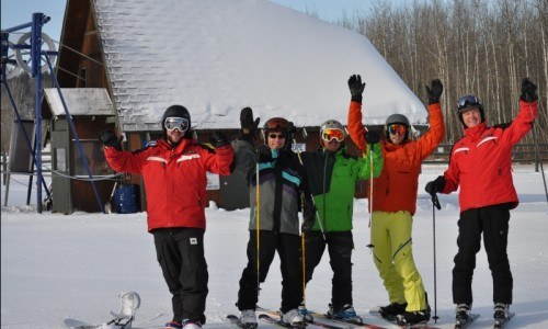Lesson, ski, snowboard, ski hill, winter fun