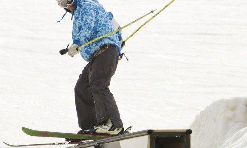 ski, park, terrain park, temp park, rails, jumps, boxes