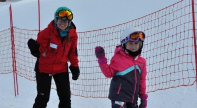 Lesson, skier, carpet lift